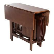Conjunto Prático Dobrável Mesa 4 Cadeiras Bar Cozinha Jantar Quadrado - Máximo Móveis