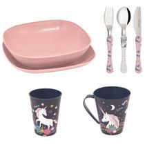 Conjunto pratos, talheres, copo, caneca  infantil- Unicornio - Simonaggio