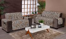 Conjunto protetor de sofá estampado onça safari - Santos E Luan