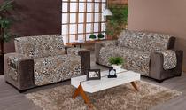 Conjunto protetor para sofá 3 e 2 lugares estampado onça safari - M&C Enxovais