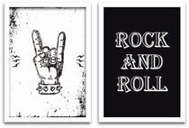 Conjunto Quadros Decorativos 2 peças 20x30 Rock and Roll - Arte na Arte
