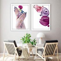 Conjunto Quadros Decorativos Manicure Unha Esmalte - Adoro Decor