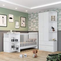 Conjunto Quarto de Bebê Berço Mini Cama e Guarda Roupa Pega Pega Espresso Móveis Branco -