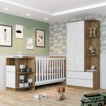 Conjunto Quarto de Bebê Berço Mini Cama e Guarda Roupa Pega Pega Espresso Móveis Rústico/Branco -