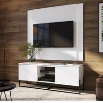 Conjunto Rack 2 Portas e Painel para TV até 58 Polegadas Vesta Artesano Thassos/Branco/Preto -