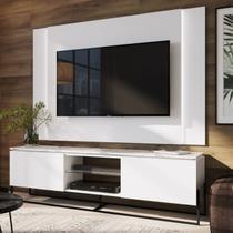 Conjunto Rack 2 Portas e Painel Vesta 180cm para TV até 65 Polegadas Artesano Thassos/Branco/Preto -