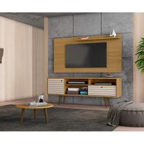Conjunto Rack com Painel Esmeralda para TV até 50 polegadas e Mesa de Centro Retrô Móveis Bechara Cinamomo/Off White -