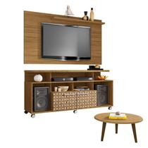 Conjunto Rack com Painel New Centurini e Mesa de Centro TV até 50 Polegadas Móveis Bechara Cinamomo/3D -