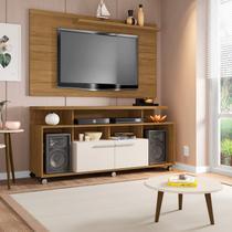 Conjunto Rack com Painel New Centurini e Mesa de Centro TV até 50 Polegadas Móveis Bechara Cinamomo/Off White -