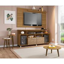 Conjunto Rack com Painel New Centurini e Mesas Decorativa TV até 50 Polegadas Móveis Bechara Cinamomo/3D -