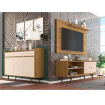 Conjunto Rack com Painel para TV até 50 Polegadas e Aparador Móveis Bechara Cinamomo/Off White -