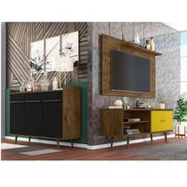 Conjunto Rack com Painel para TV até 50 Polegadas e Aparador Móveis Bechara Madeira Rústica/Amarelo/Preto Fosco -