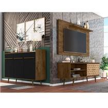 Conjunto Rack com Painel para TV até 50 Polegadas e Aparador Móveis Bechara Madeira Rústica/Madeira 3D/Preto Fosco -