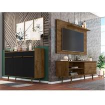 Conjunto Rack com Painel para TV até 50 Polegadas e Aparador Móveis Bechara Madeira Rústica/Preto Fosco -
