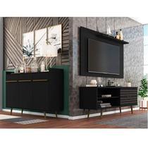 Conjunto Rack com Painel para TV até 50 Polegadas e Aparador Móveis Bechara Preto Fosco -