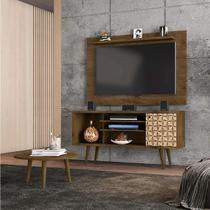 Conjunto Rack com Painel Safira e Mesa de Centro para TV até 50 Polegadas Móveis Bechara Madeira Rústica/3D -