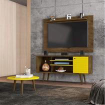 Conjunto Rack com Painel Safira e Mesa de Centro para TV até 50 Polegadas Móveis Bechara Madeira Rústica/Amarelo -