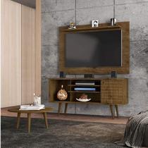 Conjunto Rack com Painel Safira e Mesa de Centro para TV até 50 Polegadas Móveis Bechara Madeira Rústica -