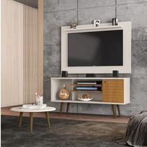 Conjunto Rack com Painel Safira e Mesa de Centro para TV até 50 Polegadas Móveis Bechara Off White/Cinamomo -