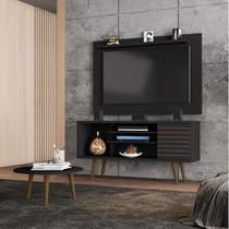 Conjunto Rack com Painel Safira e Mesa de Centro para TV até 50 Polegadas Móveis Bechara Preto Fosco -