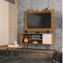 Conjunto Rack com Painel Safira para TV até 50 Polegadas e Mesa de Centro Móveis Bechara Cinamomo/Off White -