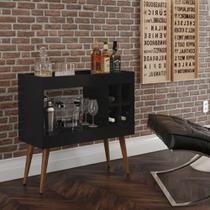 Conjunto Rack e Painel Linea / Aparador Bar Coffe Break / Mesa de Centro e Lateral Cissa - Preto - Rpm Móveis