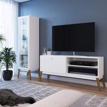 Conjunto Rack para TV 55 Polegadas e Cristaleira 1 Porta Retrô Tati Espresso Móveis Branco -