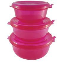 Conjunto Redondo 3 Peças Pote Hermético Freezer Microondas Pink - Zanline