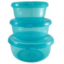 Conjunto Redondo 3 Peças Pote Hermético Freezer Microondas Verde Tiffany - Zanline