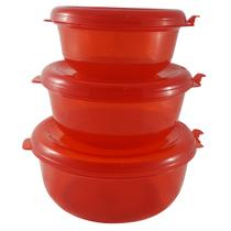Conjunto Redondo 3 Peças Pote Hermético Freezer Microondas Vermelho - Zanline