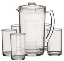 Conjunto Refresco 07 Pç 1 jarra de 2 litros e 6 copos água 350 ml  Acrílico Kaballa - CRISTAL -