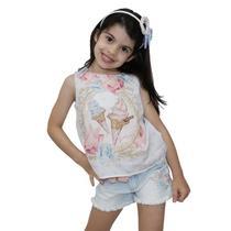 Conjunto regata com shorts jeans Sorvetes Petit Cherie -