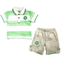 Conjunto revedor palmeiras polo e short menino branco e verde -