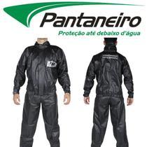 Conjunto Roupa Capa De Chuva Preta Pantaneiro Pvc Tornado Luxo Motoqueiro Moto Motoboy -
