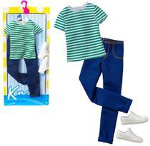 Conjunto Roupinha Casual Moderno Para Boneco Ken Fashionista Blusa Calça Jeans Tênis Branco - Mattel -