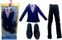 Conjunto Roupinha De Gala Smoking Terno Azul Para Boneco Ken Fashionista Namorado Barbie - Mattel -