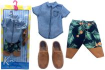 Conjunto Roupinha Estilo Havaiano Para Boneco Ken Fashionista Camisa Jeans Bermuda Sapatos - Mattel -