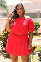 Conjunto Saia com shorts e croped vermelho tam 46 Milanjus Plus size -
