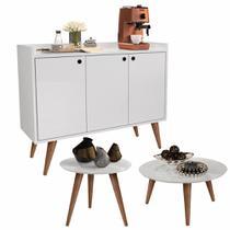 Conjunto Sala com Aparador Buffet Wood / Mesa de Centro e Lateral Cissa - Branco - RPM Móveis -
