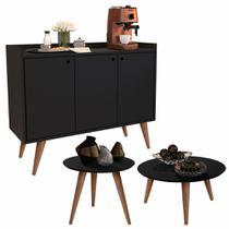 Conjunto Sala com Aparador Buffet Wood / Mesa de Centro e Lateral Cissa - Preto - RPM Móveis -