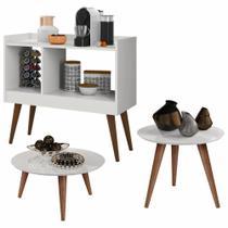 Conjunto Sala com Aparador Café Luanda / Mesa de Centro e Lateral Cissa - Branco - RPM Móveis -