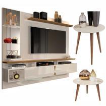 Conjunto Sala com Painel Intense e Mesa de Centro e Lateral Off White/Amêndoa - Lukaliam Móveis