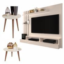 Conjunto Sala com Painel / Mesa de Centro e Lateral Cissa - Off White - RPM Móveis -