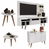 Conjunto Sala com Rack e Painel Linea / Aparador Buffet Wood Prime / Mesa de Centro e Lateral Cissa Branco - RPM Móveis -