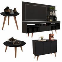 Conjunto Sala com Rack e Painel Linea / Aparador Buffet Wood Prime / Mesa de Centro e Lateral Cissa - Preto - RPM Móveis -