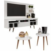 Conjunto Sala com Rack e Painel Linea / Mesa de Centro e Lateral Cissa - Branco - RPM Móveis -