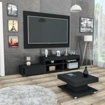 Conjunto sala de estar com painel p/ tv até 60 polegadas rack e mesa de centro black mali haus -