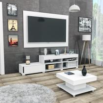Conjunto sala de estar com painel p/ tv até 60 polegadas rack e mesa de centro branco mali haus -