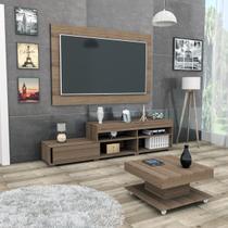 Conjunto sala de estar com painel p/ tv até 60 polegadas rack e mesa de centro nogueira mali haus -