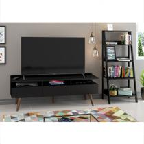 Conjunto Sala de Estar Madesa Rack Londres e Estante Escada -